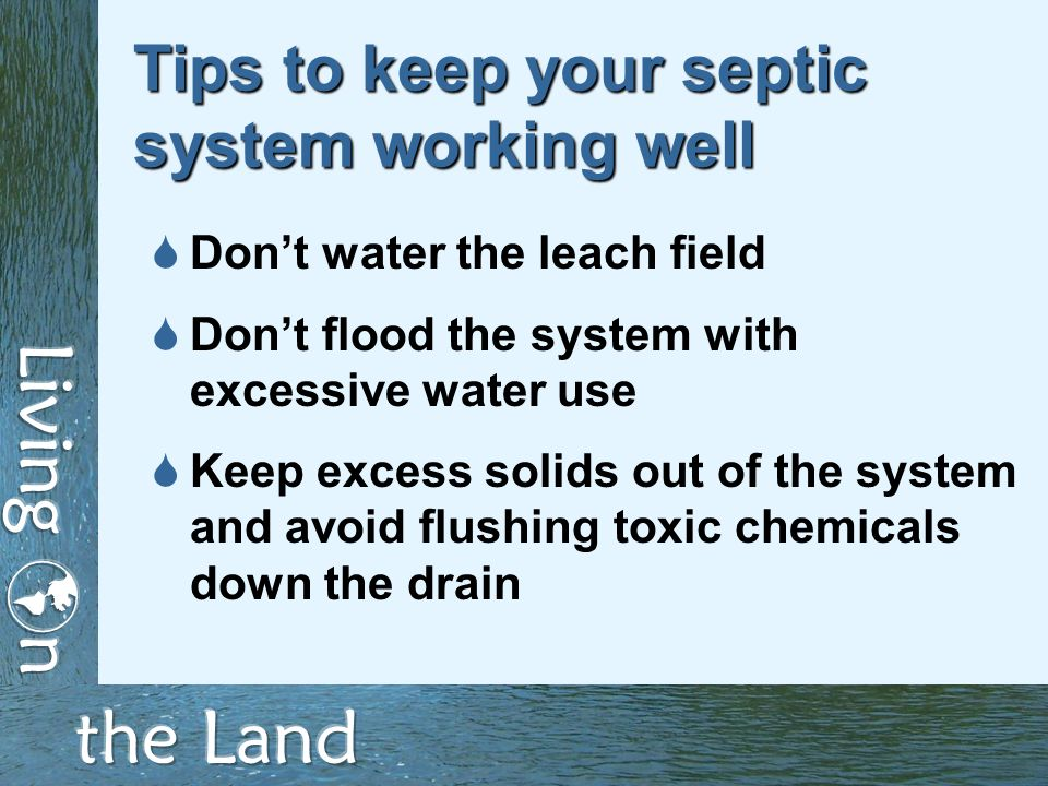Tips to keep your septic system working well  Don't water the leach field  Don't flood the system with excessive water use  Keep excess solids out of the system and avoid flushing toxic chemicals down the drain