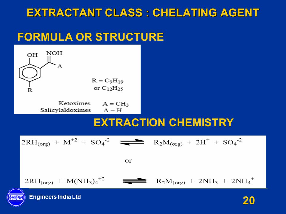 Engineers India Ltd 20 EXTRACTANT CLASS : CHELATING AGENT FORMULA OR STRUCTURE EXTRACTION CHEMISTRY