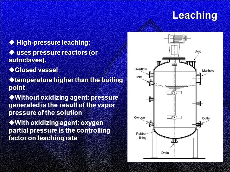 Leaching Leaching  High-pressure leaching:  uses pressure reactors (or autoclaves).