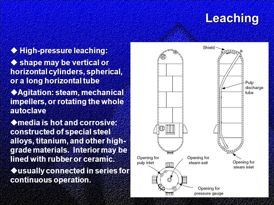 Leaching Leaching  High-pressure leaching:  shape may be vertical or horizontal cylinders, spherical, or a long horizontal tube  Agitation: steam, mechanical impellers, or rotating the whole autoclave  media is hot and corrosive: constructed of special steel alloys, titanium, and other high- grade materials.
