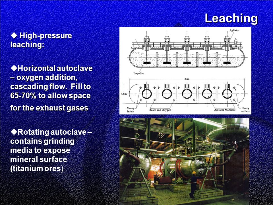 Leaching Leaching  High-pressure leaching:  Horizontal autoclave – oxygen addition, cascading flow.