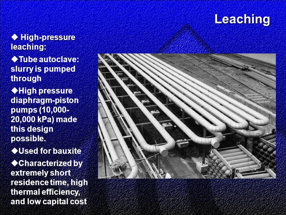 Leaching Leaching  High-pressure leaching:  Tube autoclave: slurry is pumped through  High pressure diaphragm-piston pumps (10,000- 20,000 kPa) made this design possible.