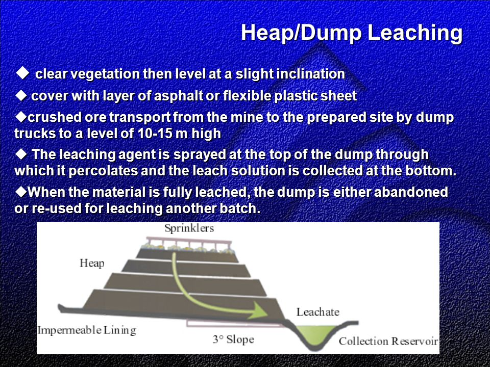 Heap/Dump Leaching Heap/Dump Leaching  clear vegetation then level at a slight inclination  cover with layer of asphalt or flexible plastic sheet  crushed ore transport from the mine to the prepared site by dump trucks to a level of 10-15 m high  The leaching agent is sprayed at the top of the dump through which it percolates and the leach solution is collected at the bottom.