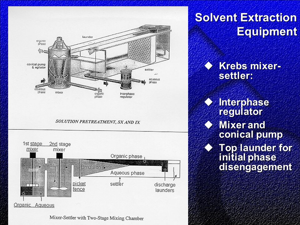 Solvent Extraction Equipment  Krebs mixer- settler:  Interphase regulator  Mixer and conical pump  Top launder for initial phase disengagement