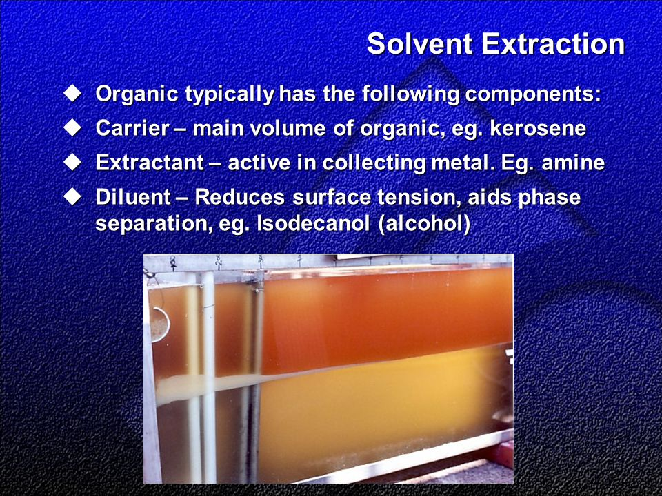 Solvent Extraction  Organic typically has the following components:  Carrier – main volume of organic, eg.