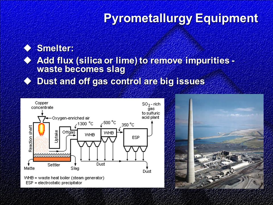 Pyrometallurgy Equipment  Smelter:  Add flux (silica or lime) to remove impurities - waste becomes slag  Dust and off gas control are big issues