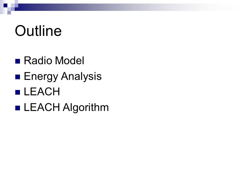 Outline Radio Model Energy Analysis LEACH LEACH Algorithm