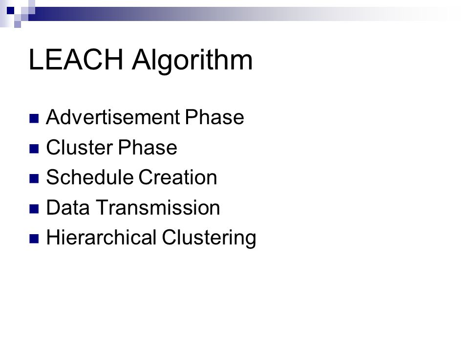 LEACH Algorithm Advertisement Phase Cluster Phase Schedule Creation Data Transmission Hierarchical Clustering