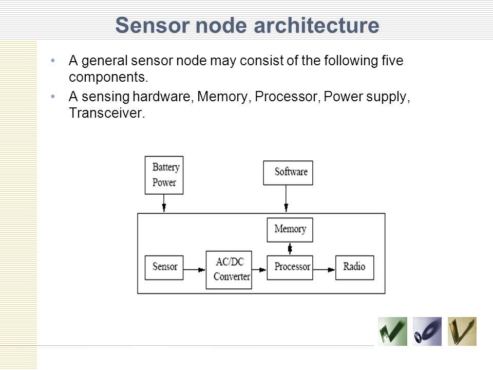 Sensor node architecture A general sensor node may consist of the following five components.