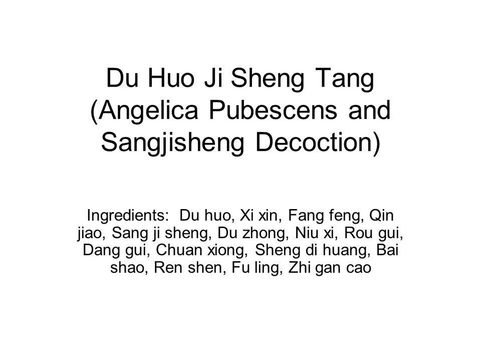 Du Huo Ji Sheng Tang (Angelica Pubescens and Sangjisheng Decoction) Ingredients: Du huo, Xi xin, Fang feng, Qin jiao, Sang ji sheng, Du zhong, Niu xi,