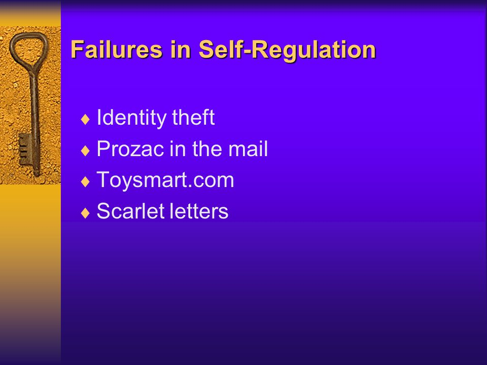 Failures in Self-Regulation  Identity theft  Prozac in the mail  Toysmart.com  Scarlet letters