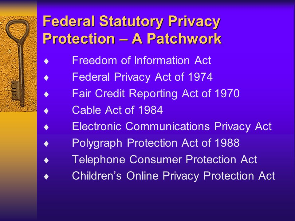 Federal Statutory Privacy Protection – A Patchwork  Freedom of Information Act  Federal Privacy Act of 1974  Fair Credit Reporting Act of 1970  Cable Act of 1984  Electronic Communications Privacy Act  Polygraph Protection Act of 1988  Telephone Consumer Protection Act  Children's Online Privacy Protection Act