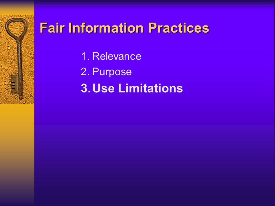 Fair Information Practices 1.Relevance 2.Purpose 3.Use Limitations