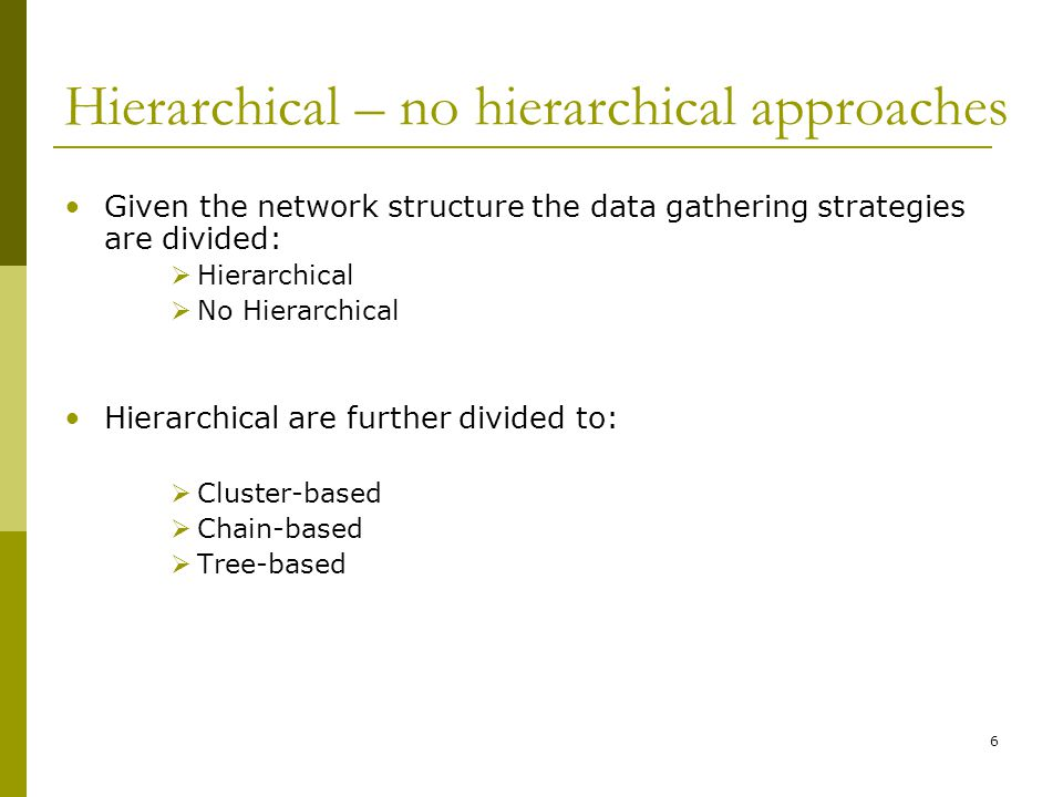 Hierarchical – no hierarchical approaches Given the network structure the data gathering strategies are divided:  Hierarchical  No Hierarchical Hierarchical are further divided to:  Cluster-based  Chain-based  Tree-based 6