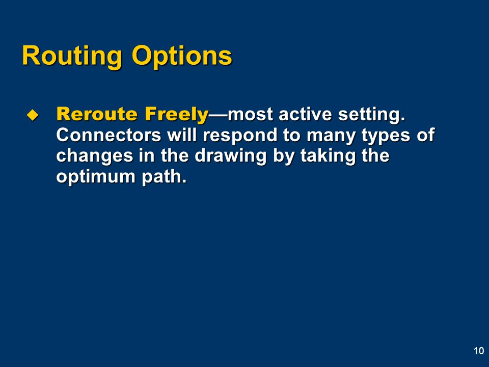 10 Routing Options  Reroute Freely —most active setting.