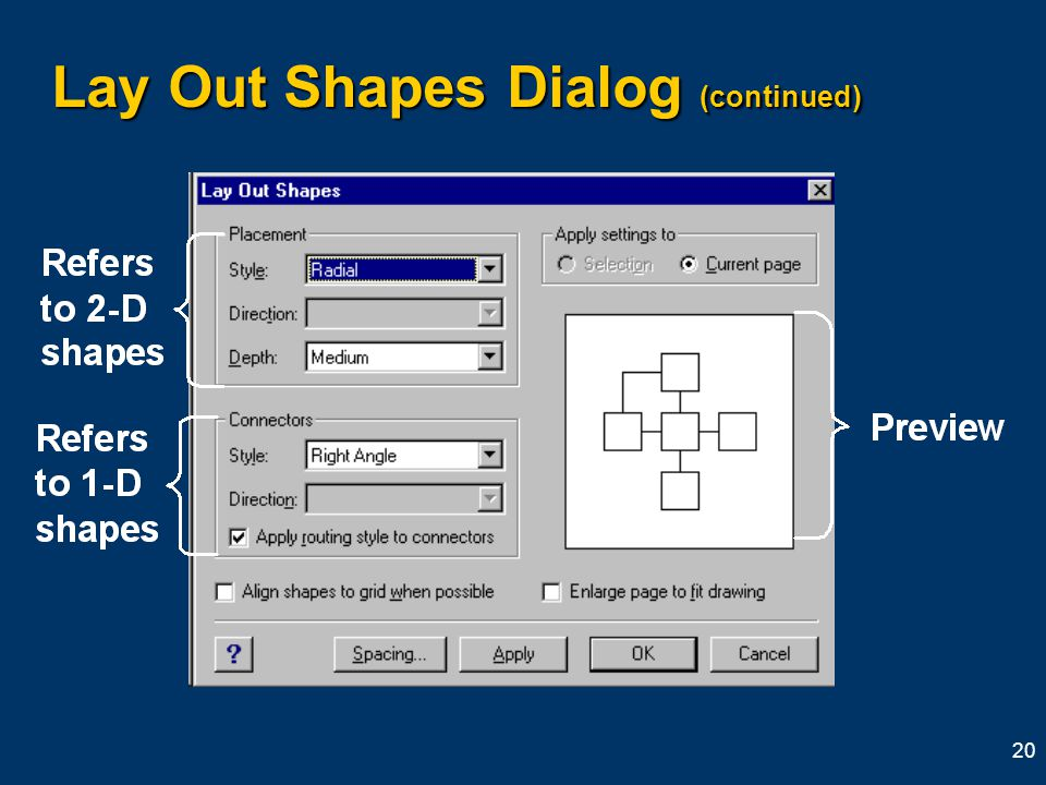 20 Lay Out Shapes Dialog (continued)