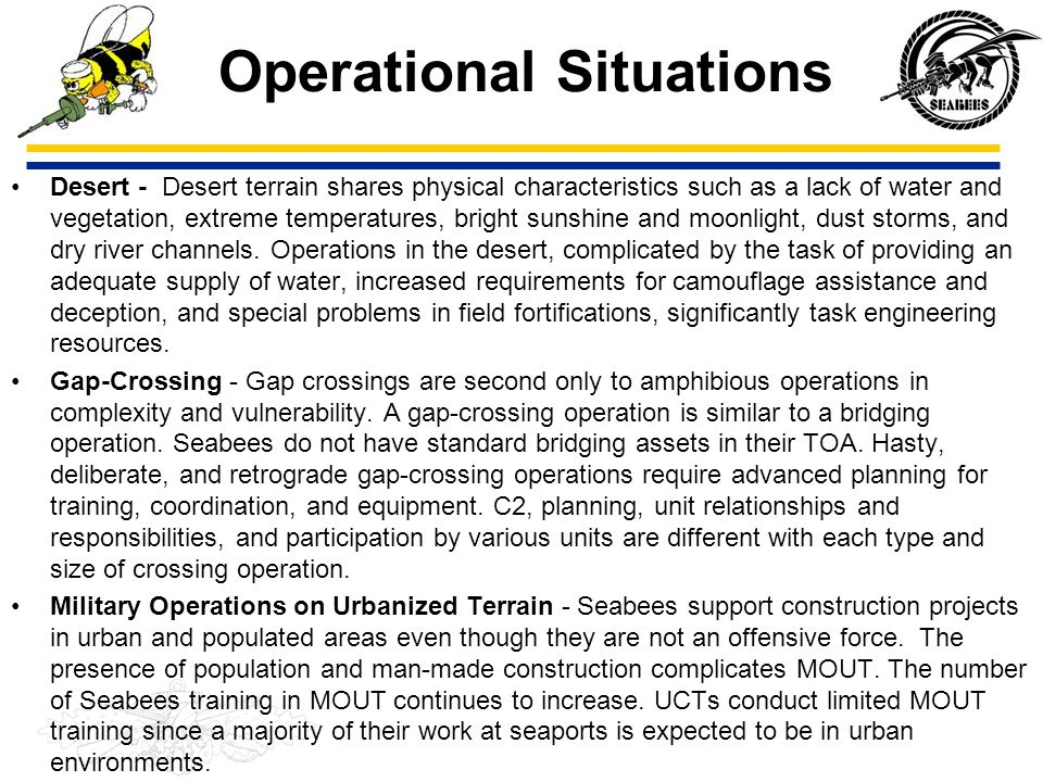 Operational Situations Desert - Desert terrain shares physical characteristics such as a lack of water and vegetation, extreme temperatures, bright su