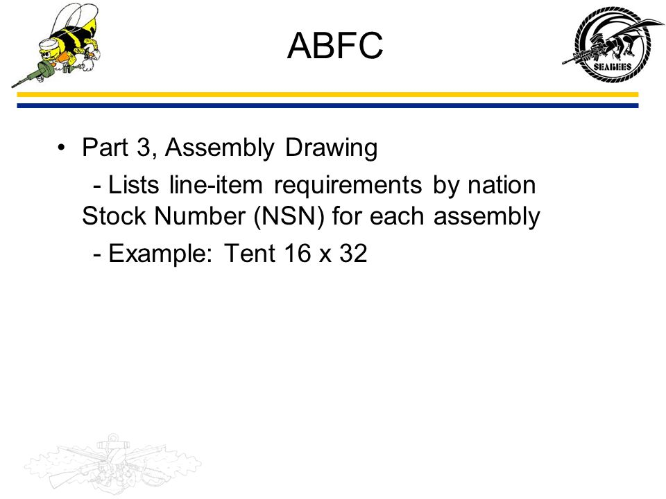 ABFC Part 3, Assembly Drawing - Lists line-item requirements by nation Stock Number (NSN) for each assembly - Example: Tent 16 x 32