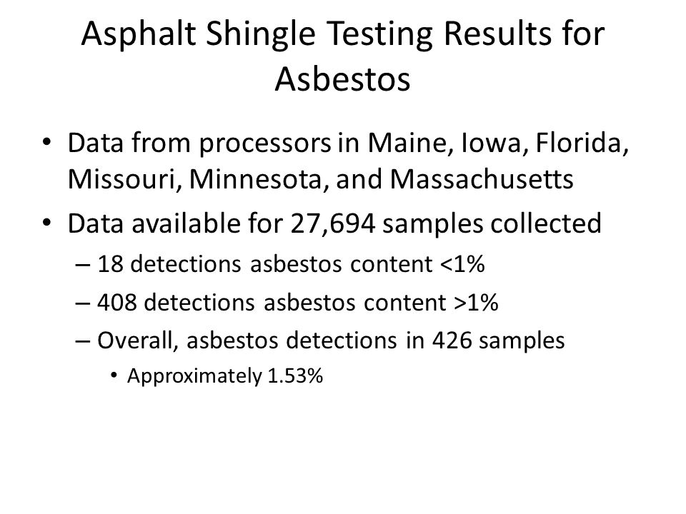Asphalt Shingle Testing Results for Asbestos Data from processors in Maine, Iowa, Florida, Missouri, Minnesota, and Massachusetts Data available for 27,694 samples collected – 18 detections asbestos content <1% – 408 detections asbestos content >1% – Overall, asbestos detections in 426 samples Approximately 1.53%