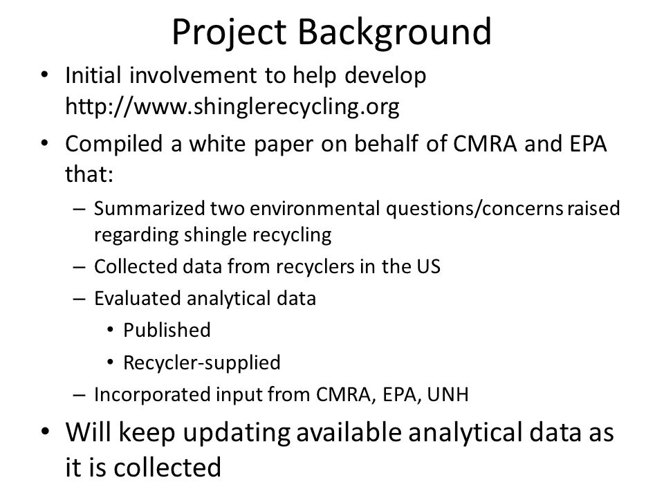 Acknowledgments CMRA and EPA UNH Facilities that provided data