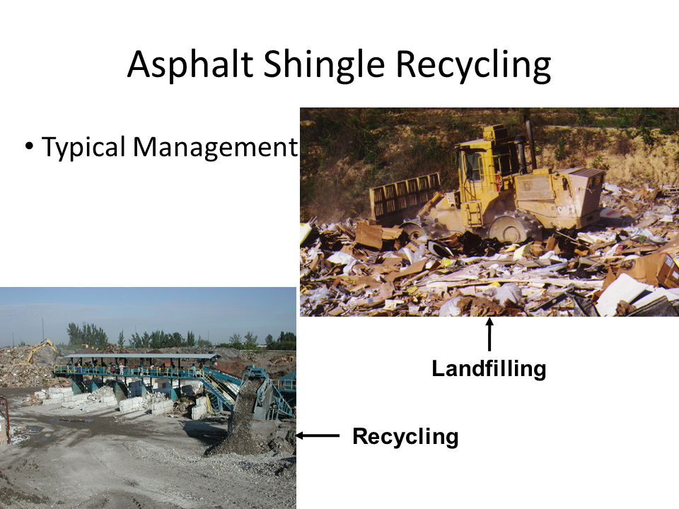 Asphalt Shingle Recycling Markets – hot mix asphalt (HMA) – temporary roads or driveways – dust control on rural roads – cold patch – aggregate road base – new shingles – Fuel/energy supplement – landfill cover – mulch http://useit.umaine.edu/images/maingallery/msc9.jpg