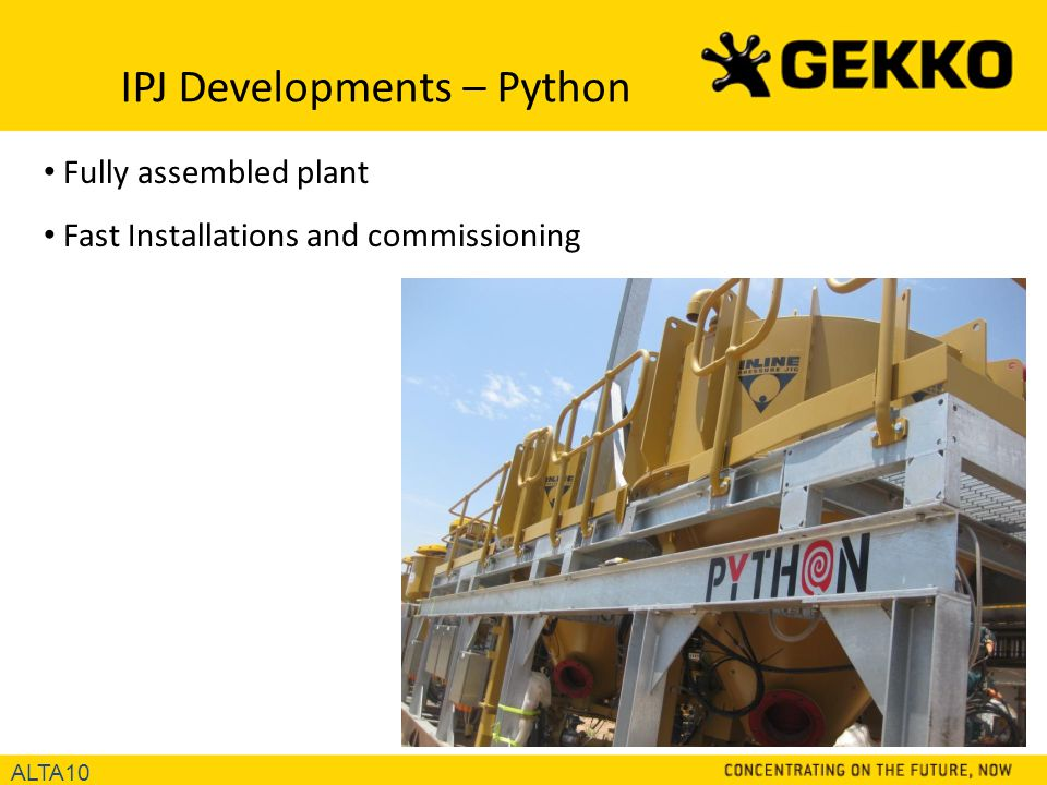 IPJ Developments – Python ALTA10 Fully assembled plant Fast Installations and commissioning