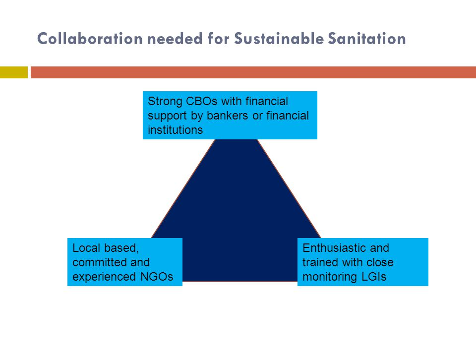 Collaboration needed for Sustainable Sanitation Local based, committed and experienced NGOs Enthusiastic and trained with close monitoring LGIs Strong CBOs with financial support by bankers or financial institutions