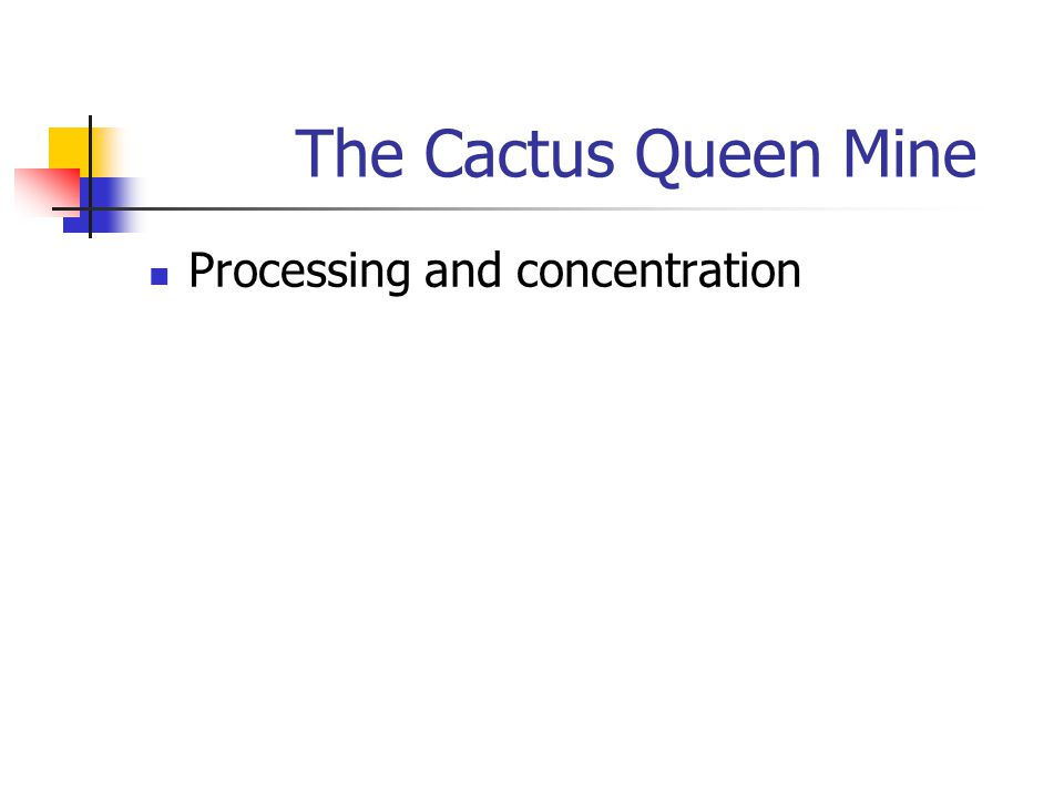 The Cactus Queen Mine Processing and concentration
