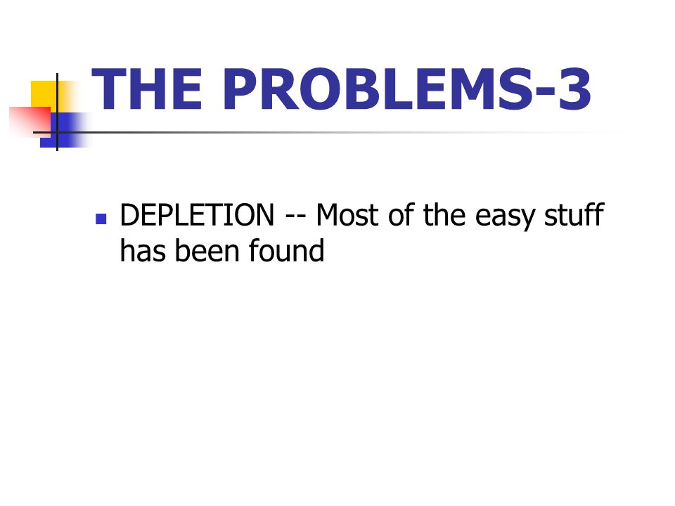 THE PROBLEMS-3 DEPLETION -- Most of the easy stuff has been found