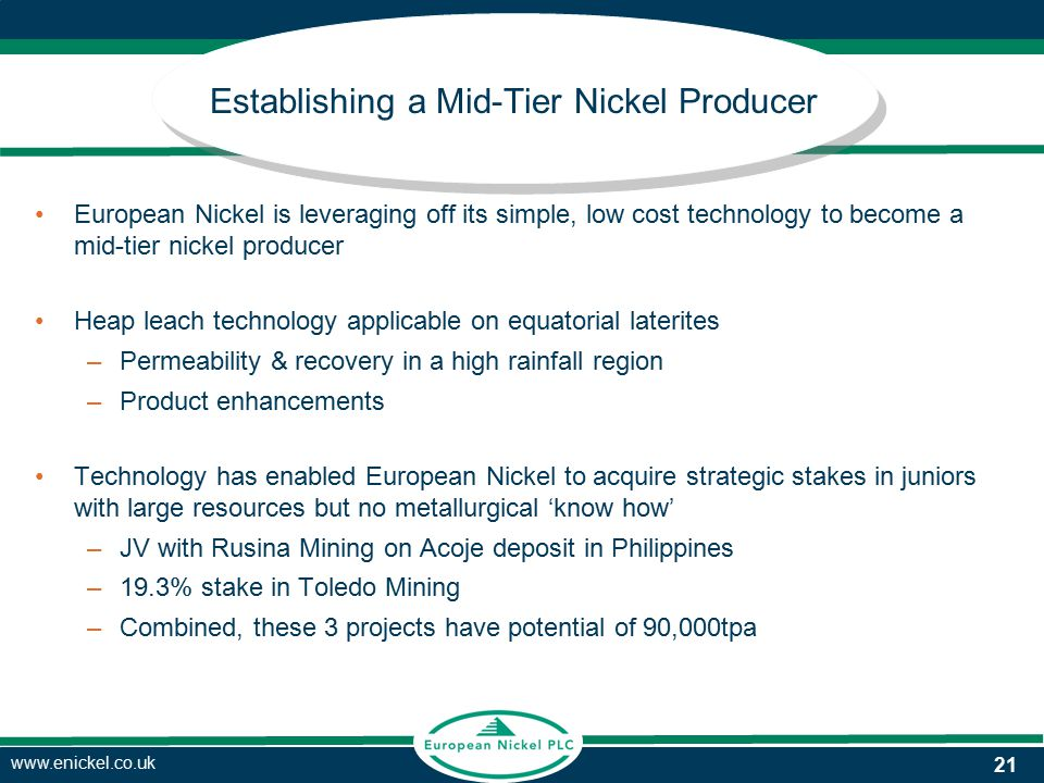 www.enickel.co.uk Establishing a Mid-Tier Nickel Producer European Nickel is leveraging off its simple, low cost technology to become a mid-tier nickel producer Heap leach technology applicable on equatorial laterites –Permeability & recovery in a high rainfall region –Product enhancements Technology has enabled European Nickel to acquire strategic stakes in juniors with large resources but no metallurgical 'know how' –JV with Rusina Mining on Acoje deposit in Philippines –19.3% stake in Toledo Mining –Combined, these 3 projects have potential of 90,000tpa 21
