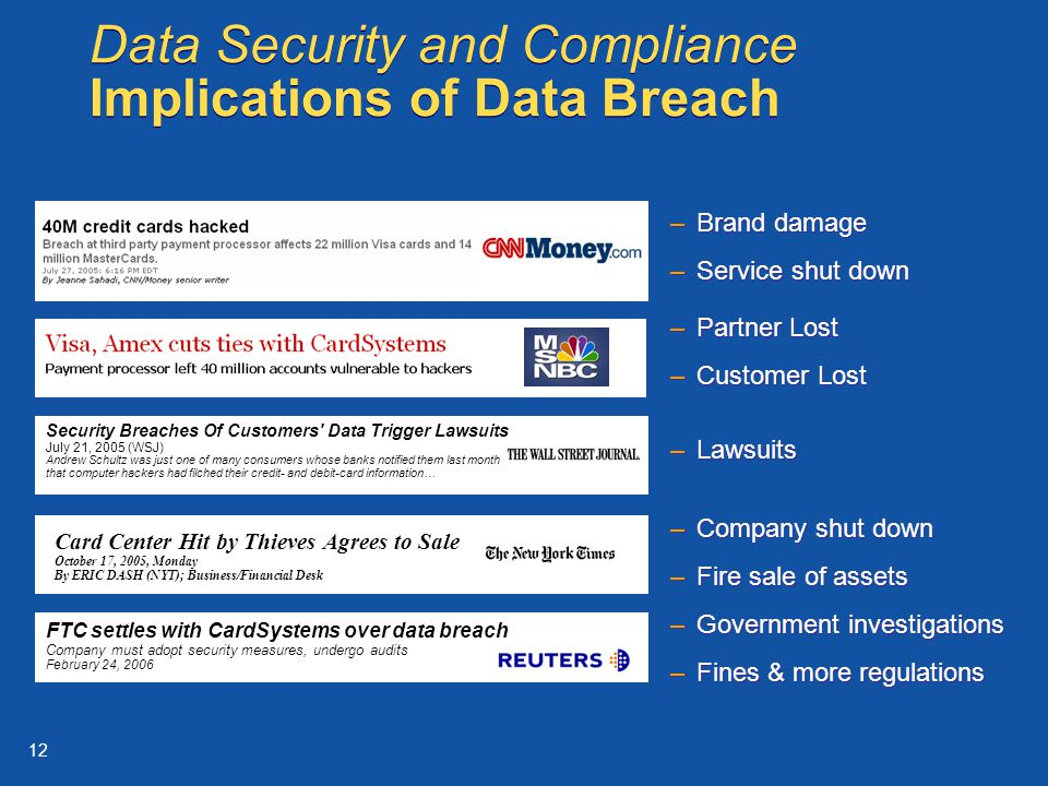 12 –Partner Lost –Customer Lost –Partner Lost –Customer Lost Data Security and Compliance Implications of Data Breach Card Center Hit by Thieves Agrees to Sale October 17, 2005, Monday By ERIC DASH (NYT); Business/Financial Desk FTC settles with CardSystems over data breach Company must adopt security measures, undergo audits February 24, 2006 Security Breaches Of Customers Data Trigger Lawsuits July 21, 2005 (WSJ) Andrew Schultz was just one of many consumers whose banks notified them last month that computer hackers had filched their credit- and debit-card information… –Brand damage –Service shut down –Brand damage –Service shut down –Lawsuits –Government investigations –Fines & more regulations –Government investigations –Fines & more regulations –Company shut down –Fire sale of assets –Company shut down –Fire sale of assets