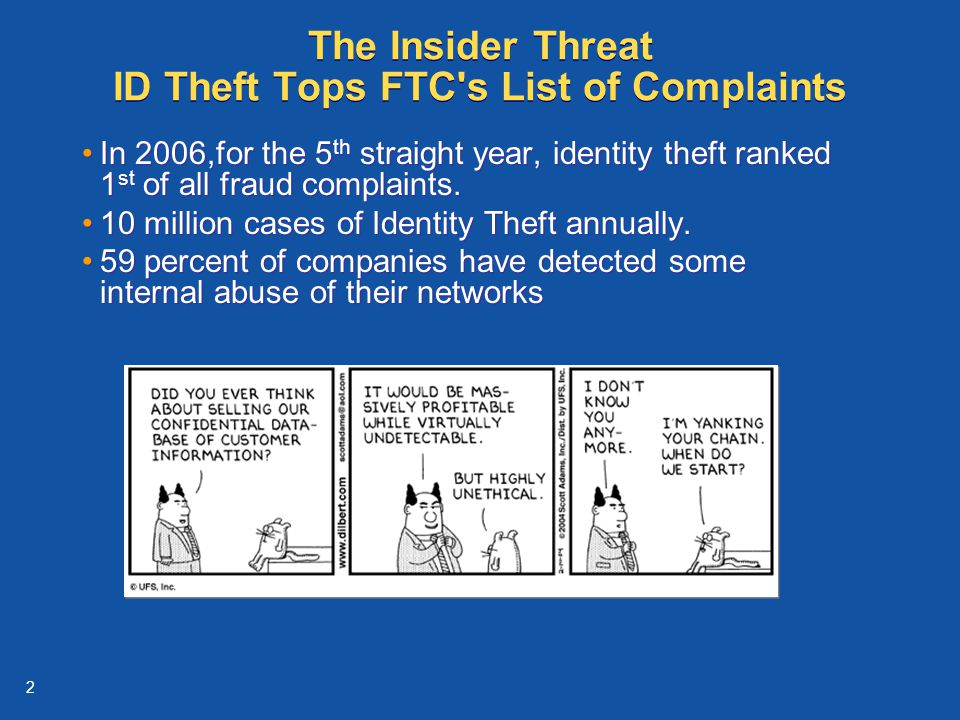 2 The Insider Threat ID Theft Tops FTC s List of Complaints In 2006,for the 5 th straight year, identity theft ranked 1 st of all fraud complaints.