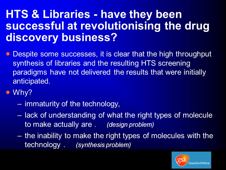 HTS & Libraries - have they been successful at revolutionising the drug discovery business.