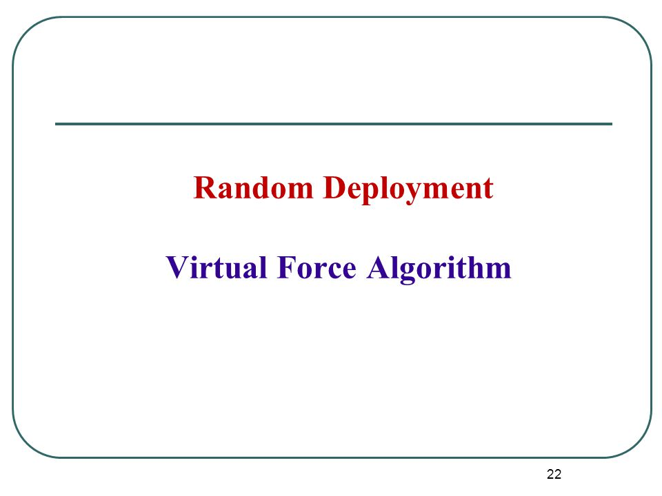 Random Deployment Virtual Force Algorithm 22