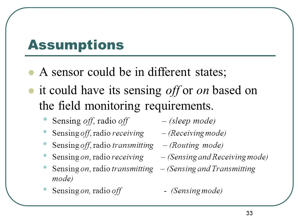 Assumptions A sensor could be in different states; it could have its sensing off or on based on the field monitoring requirements.