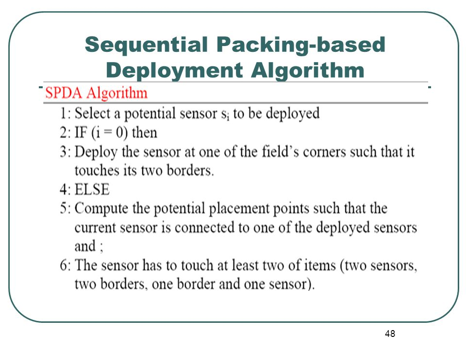 Sequential Packing-based Deployment Algorithm 48