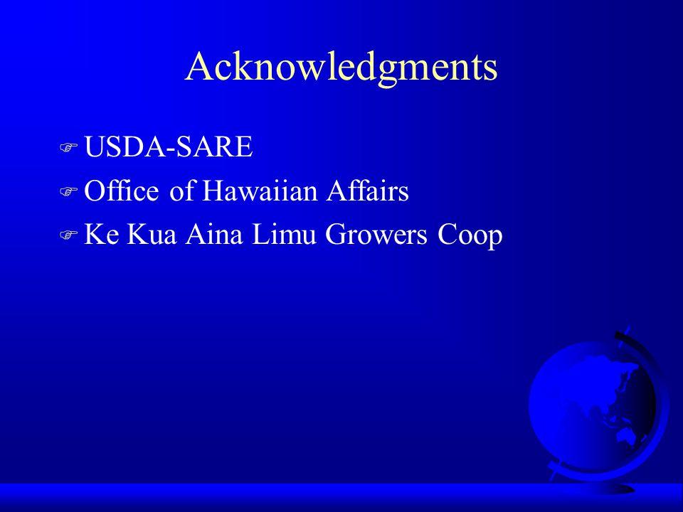 Acknowledgments F USDA-SARE F Office of Hawaiian Affairs F Ke Kua Aina Limu Growers Coop