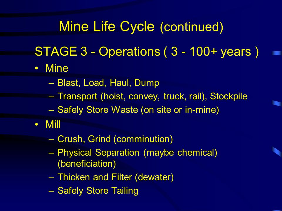 Mine Life Cycle (continued) STAGE 3 - Operations ( 3 - 100+ years ) Mine –Blast, Load, Haul, Dump –Transport (hoist, convey, truck, rail), Stockpile –Safely Store Waste (on site or in-mine) Mill –Crush, Grind (comminution) –Physical Separation (maybe chemical) (beneficiation) –Thicken and Filter (dewater) –Safely Store Tailing