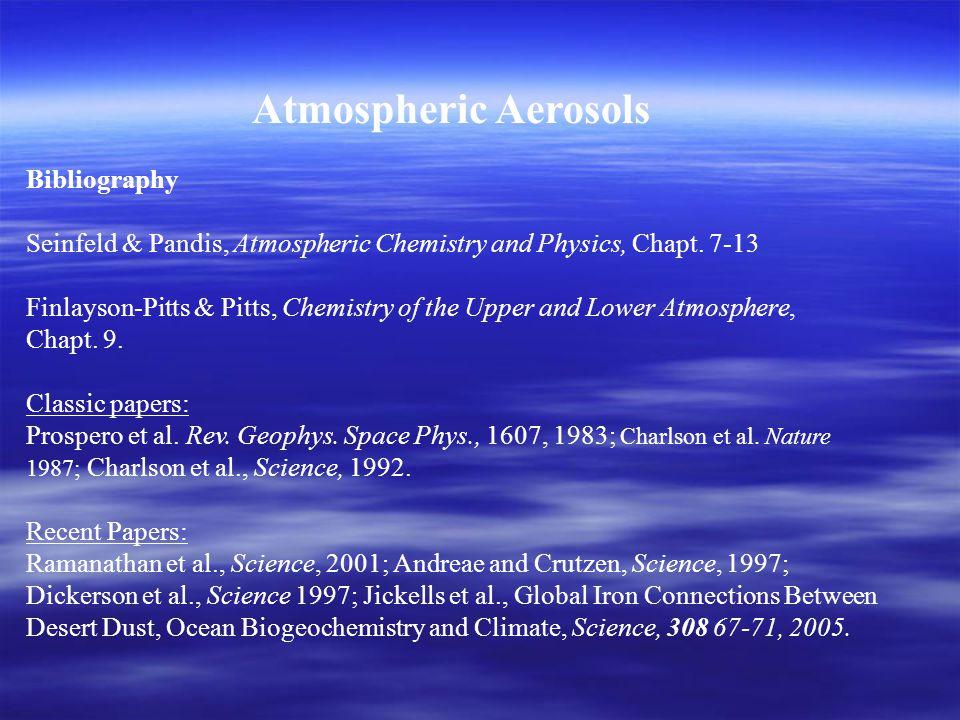 Atmospheric Aerosols Bibliography Seinfeld & Pandis, Atmospheric Chemistry and Physics, Chapt.