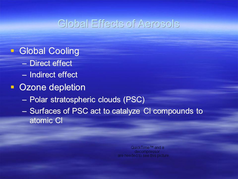 Global Effects of Aerosols  Global Cooling –Direct effect –Indirect effect  Ozone depletion –Polar stratospheric clouds (PSC) –Surfaces of PSC act to catalyze Cl compounds to atomic Cl  Global Cooling –Direct effect –Indirect effect  Ozone depletion –Polar stratospheric clouds (PSC) –Surfaces of PSC act to catalyze Cl compounds to atomic Cl