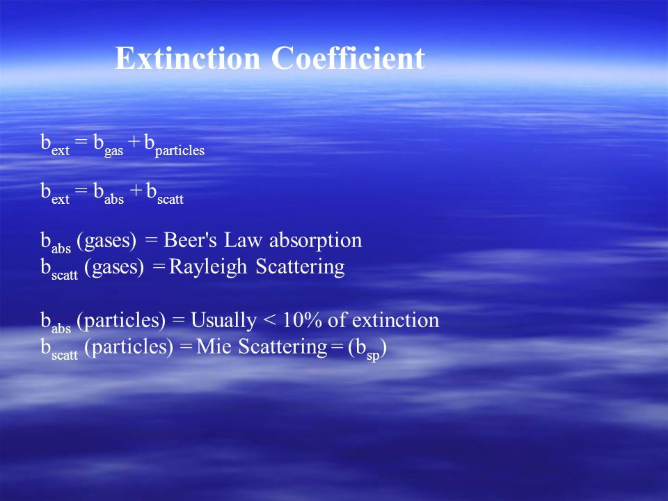 b ext = b gas + b particles b ext = b abs + b scatt b abs (gases) = Beer s Law absorption b scatt (gases) = Rayleigh Scattering b abs (particles) = Usually < 10% of extinction b scatt (particles) = Mie Scattering = (b sp ) Extinction Coefficient