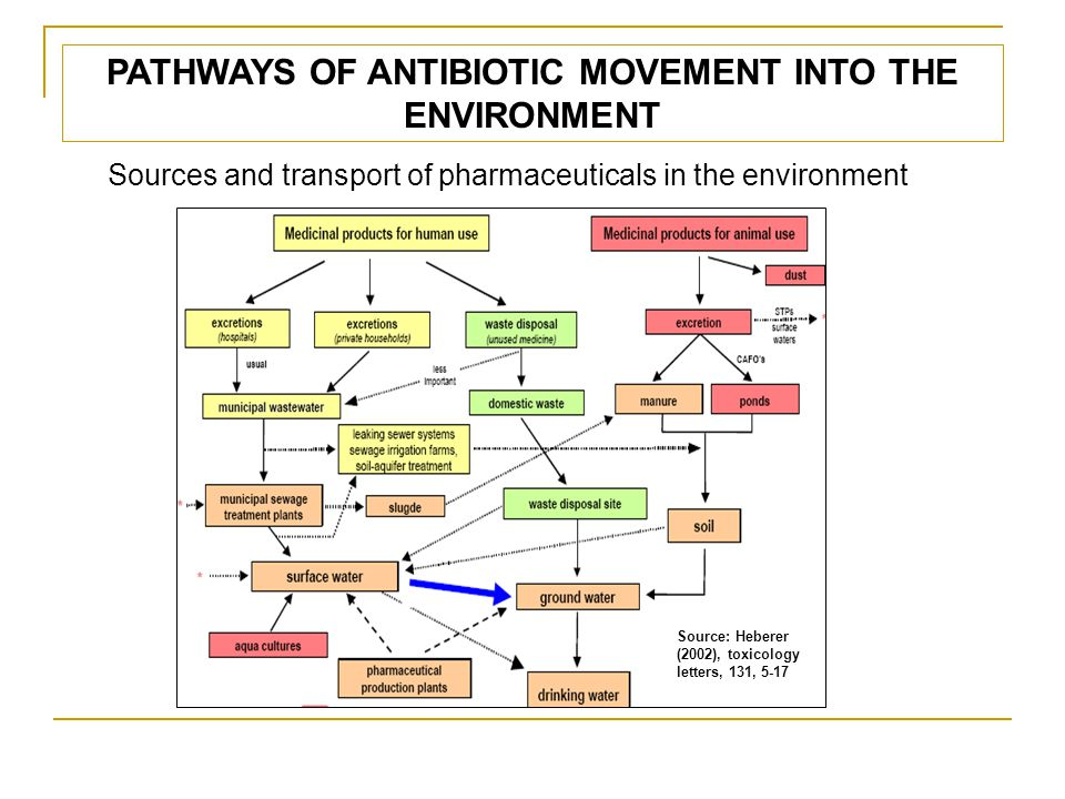 ANTIBIOTICS IN THE ENVIRONMENT Manure from treated livestock is the most relevant source of veterinary antibiotic (Osenga, 2001).