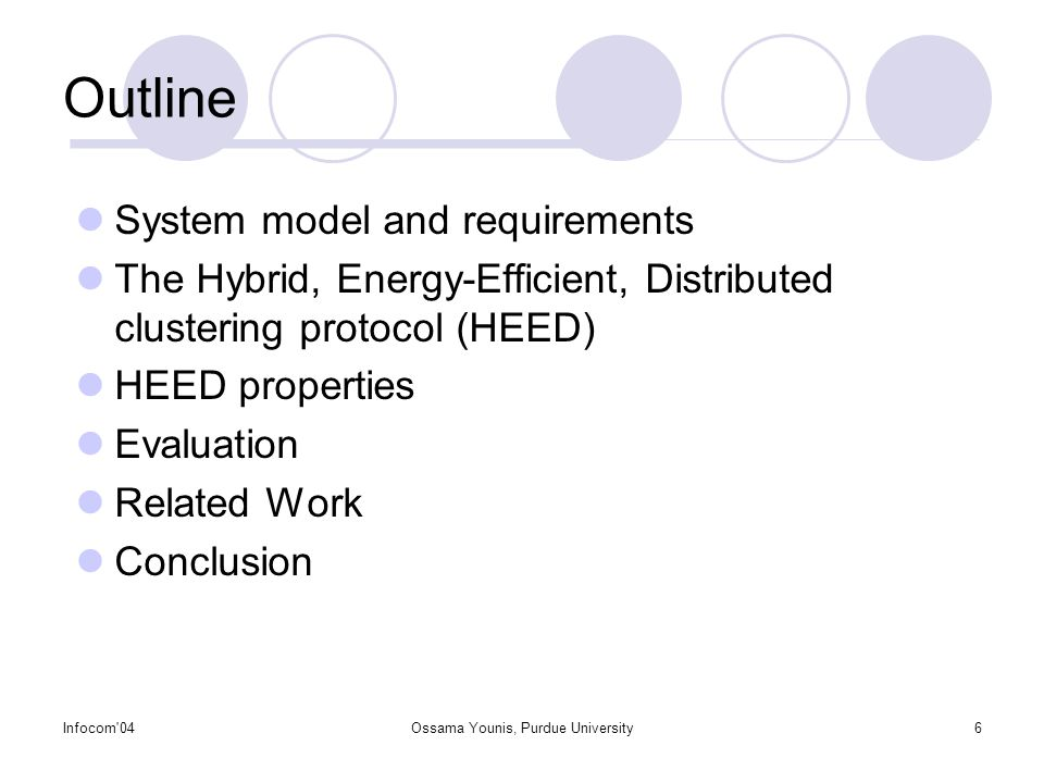 Infocom 04Ossama Younis, Purdue University6 Outline System model and requirements The Hybrid, Energy-Efficient, Distributed clustering protocol (HEED) HEED properties Evaluation Related Work Conclusion