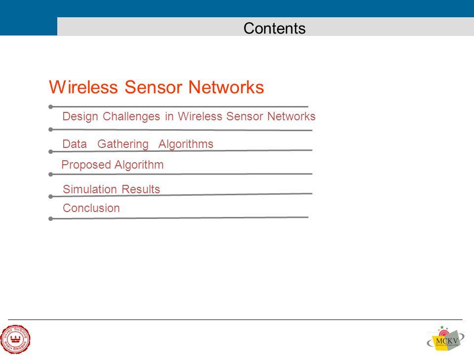 Design Challenges in Wireless Sensor Networks Data Gathering Algorithms Proposed Algorithm Wireless Sensor Networks Conclusion Simulation Results Contents