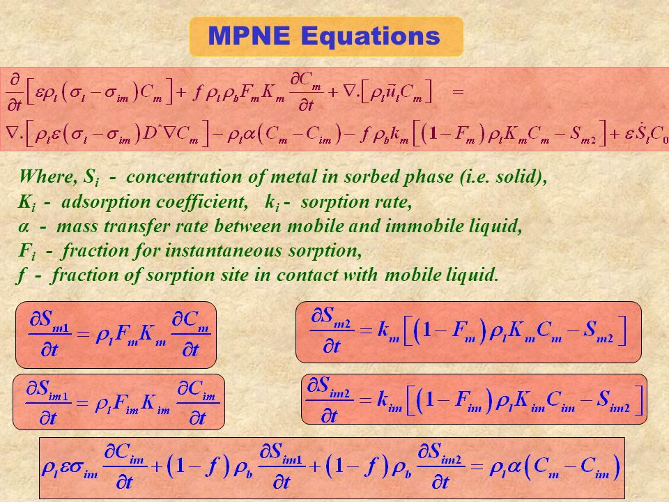 MPNE Equations Where, S i - concentration of metal in sorbed phase (i.e.