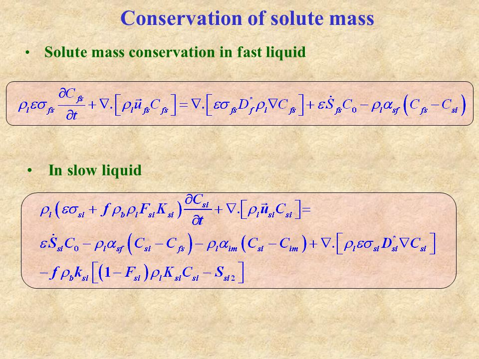 Conservation of solute mass In slow liquid Solute mass conservation in fast liquid