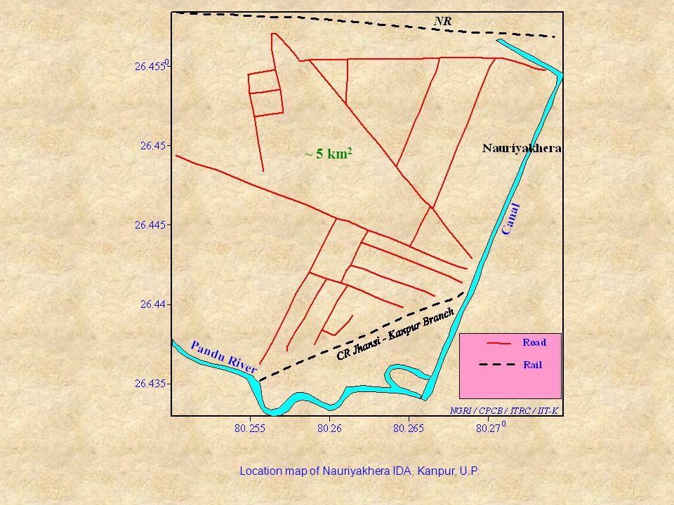 Location map of Nauriyakhera IDA, Kanpur, U.P. ~ 5 km 2