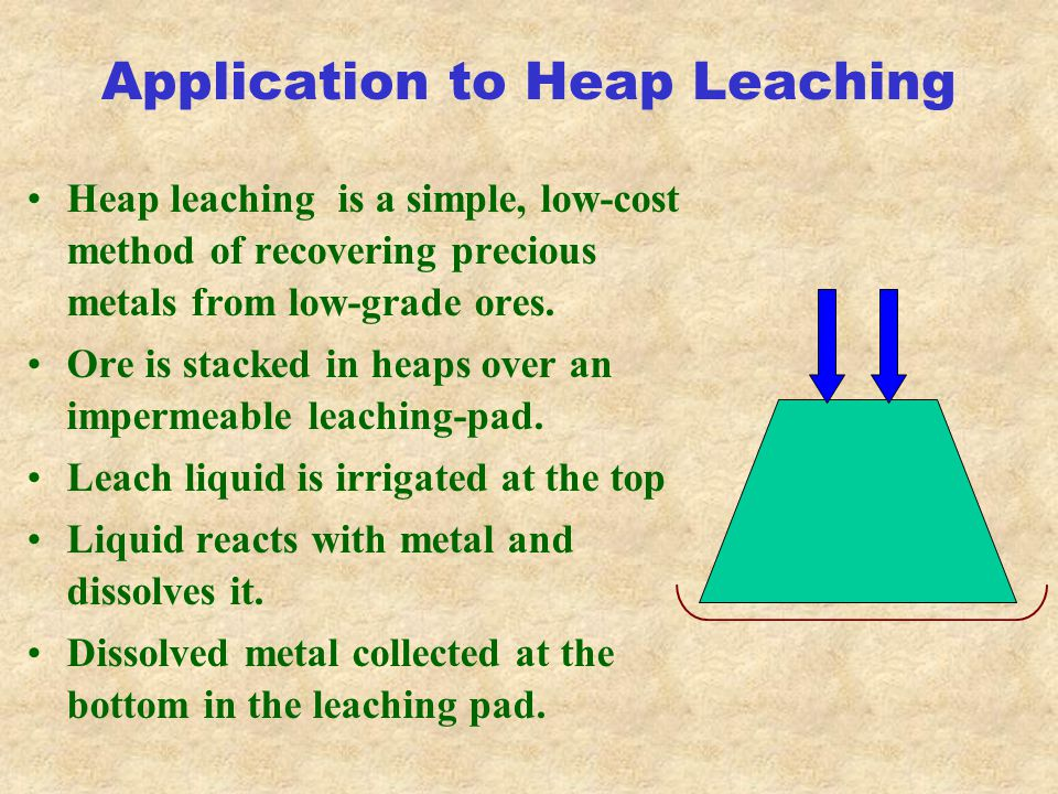 Application to Heap Leaching Heap leaching is a simple, low-cost method of recovering precious metals from low-grade ores.