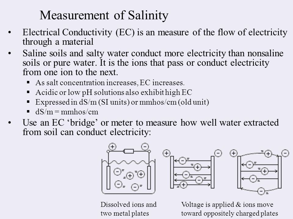 Measurement of Salinity Electrical Conductivity (EC) is an measure of the flow of electricity through a material Saline soils and salty water conduct more electricity than nonsaline soils or pure water.