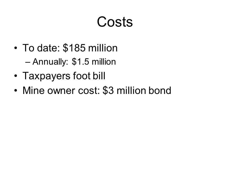 Costs To date: $185 million –Annually: $1.5 million Taxpayers foot bill Mine owner cost: $3 million bond